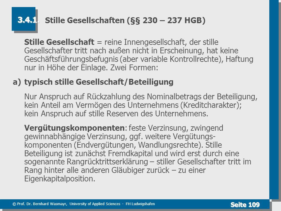 Stille Gesellschaften (§§ 230 – 237 HGB)