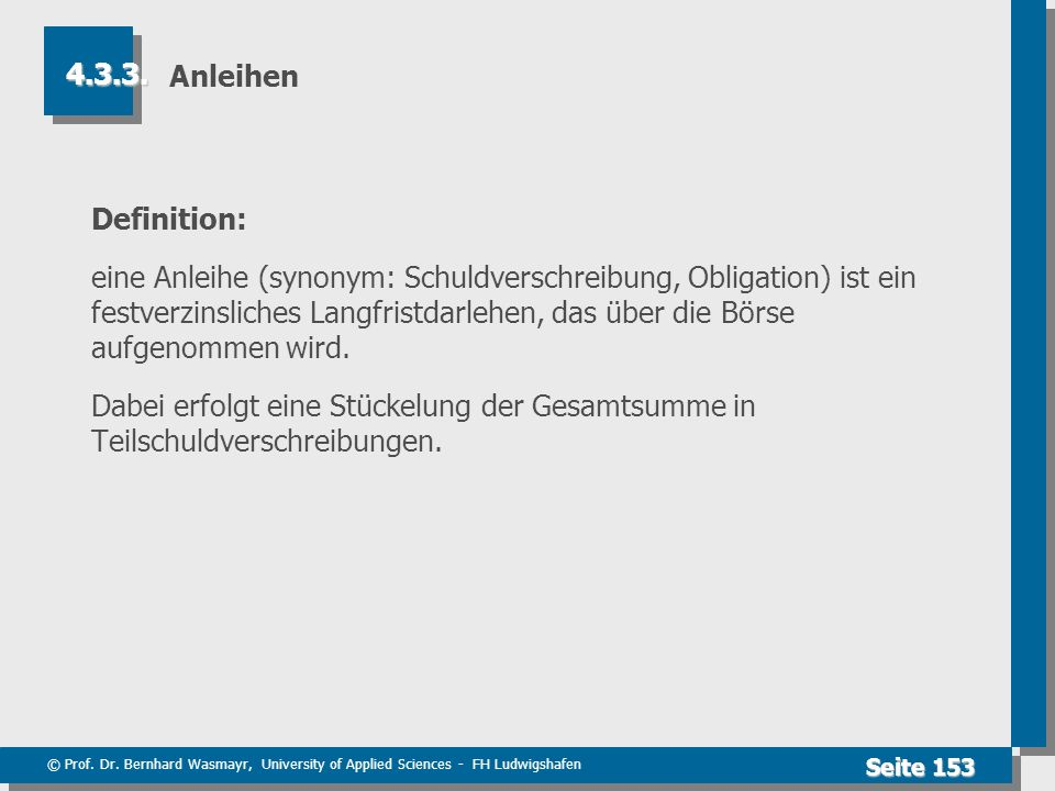 Anleihen 4.3.3. Definition: