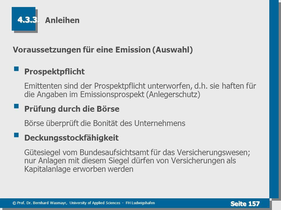 Voraussetzungen für eine Emission (Auswahl) Prospektpflicht