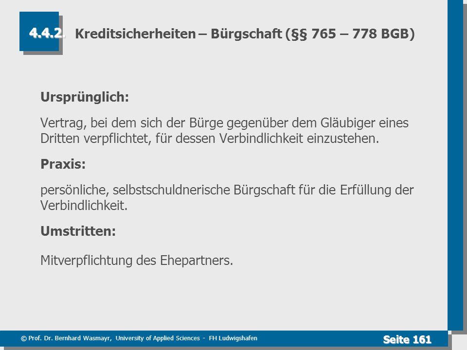 Kreditsicherheiten – Bürgschaft (§§ 765 – 778 BGB)