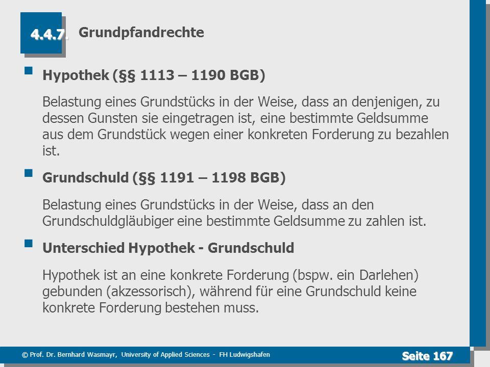 Grundpfandrechte 4.4.7. Hypothek (§§ 1113 – 1190 BGB)