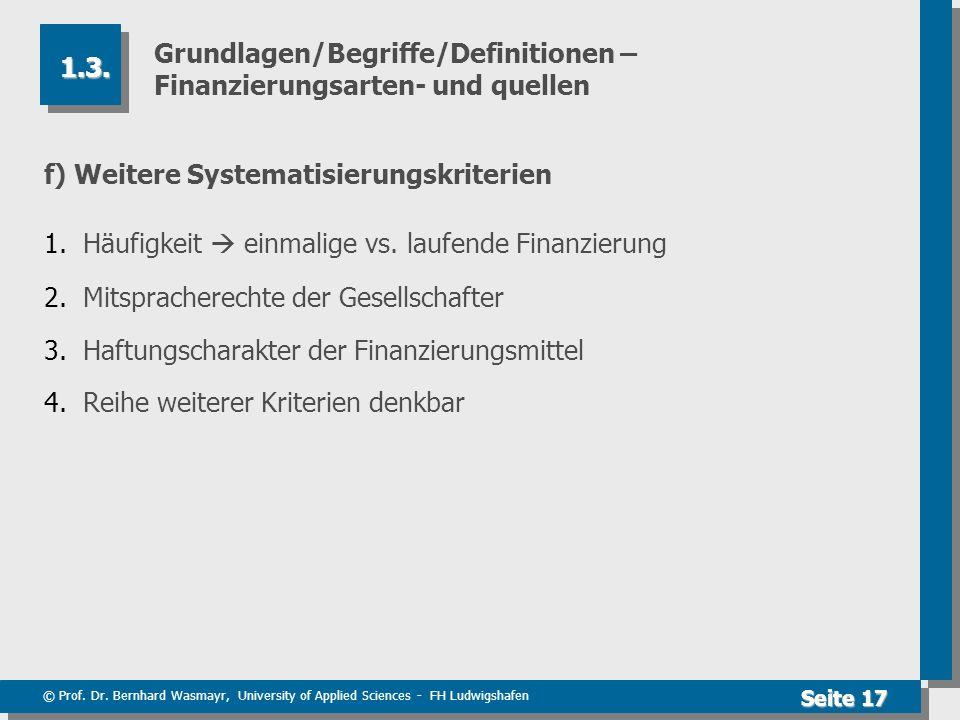 Grundlagen/Begriffe/Definitionen – Finanzierungsarten- und quellen