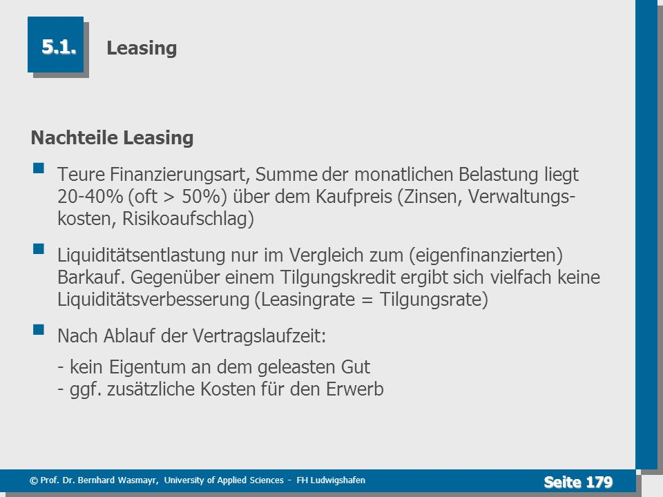 Leasing 5.1. Nachteile Leasing.
