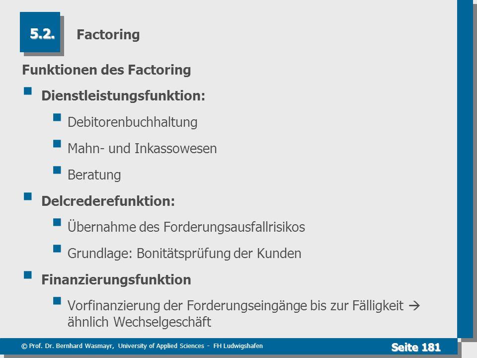 Factoring 5.2. Funktionen des Factoring. Dienstleistungsfunktion: Debitorenbuchhaltung. Mahn- und Inkassowesen.