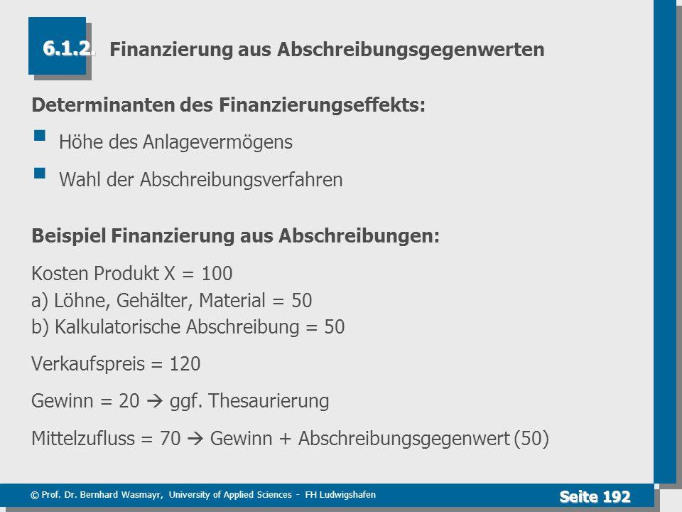 Finanzierung aus Abschreibungsgegenwerten
