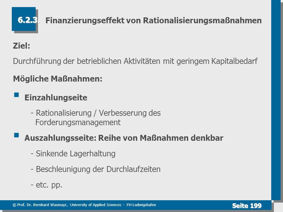 Finanzierungseffekt von Rationalisierungsmaßnahmen