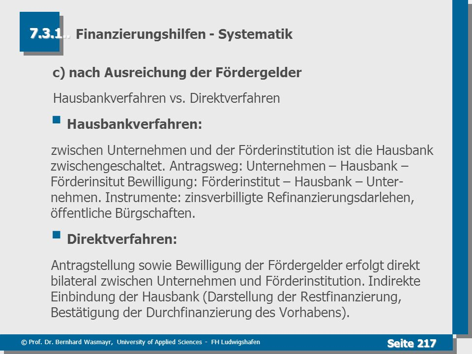 Finanzierungshilfen - Systematik
