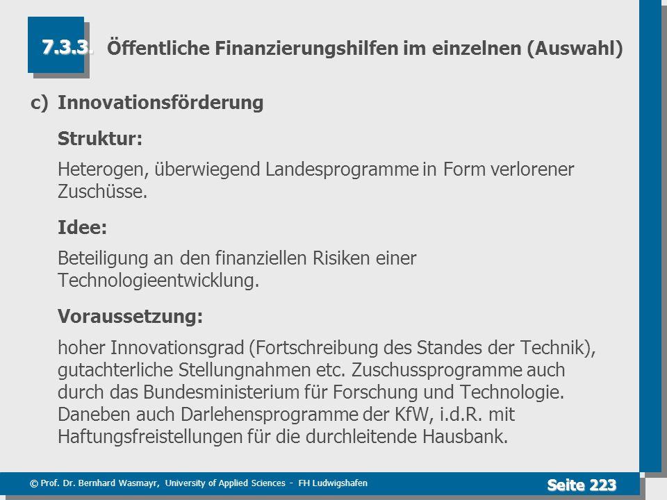 Öffentliche Finanzierungshilfen im einzelnen (Auswahl)