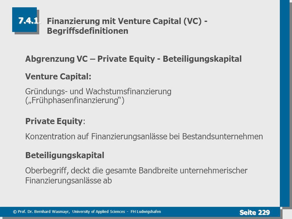 Finanzierung mit Venture Capital (VC) - Begriffsdefinitionen