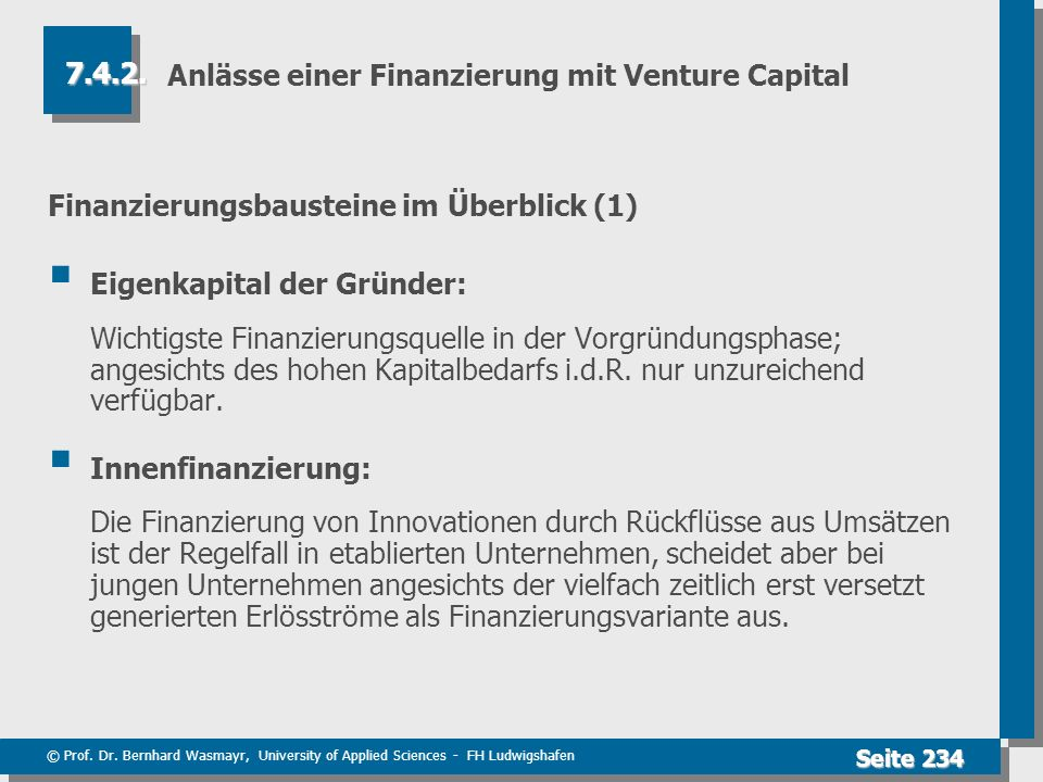 Anlässe einer Finanzierung mit Venture Capital