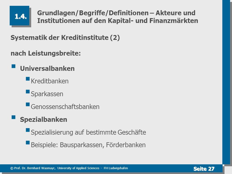 Grundlagen/Begriffe/Definitionen – Akteure und Institutionen auf den Kapital- und Finanzmärkten