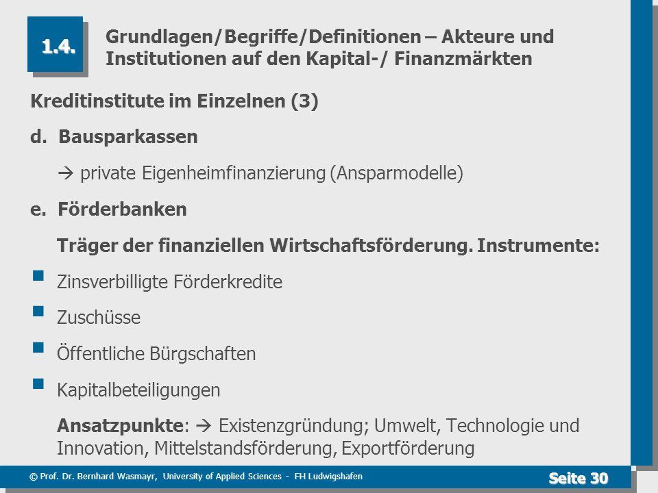 Grundlagen/Begriffe/Definitionen – Akteure und Institutionen auf den Kapital-/ Finanzmärkten
