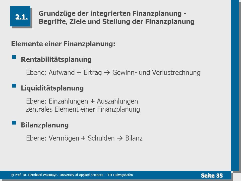 Grundzüge der integrierten Finanzplanung - Begriffe, Ziele und Stellung der Finanzplanung