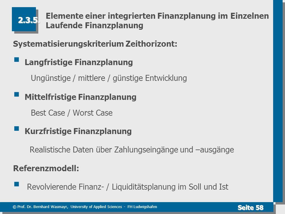 Elemente einer integrierten Finanzplanung im Einzelnen Laufende Finanzplanung