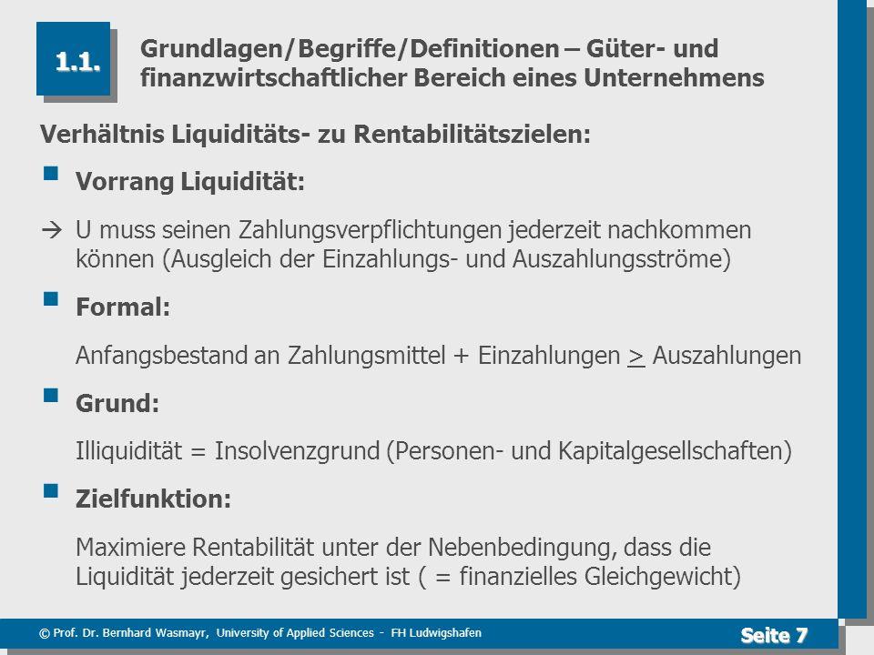 Grundlagen/Begriffe/Definitionen – Güter- und finanzwirtschaftlicher Bereich eines Unternehmens