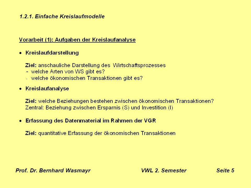 Prof. Dr. Bernhard Wasmayr VWL 2. Semester Seite 5