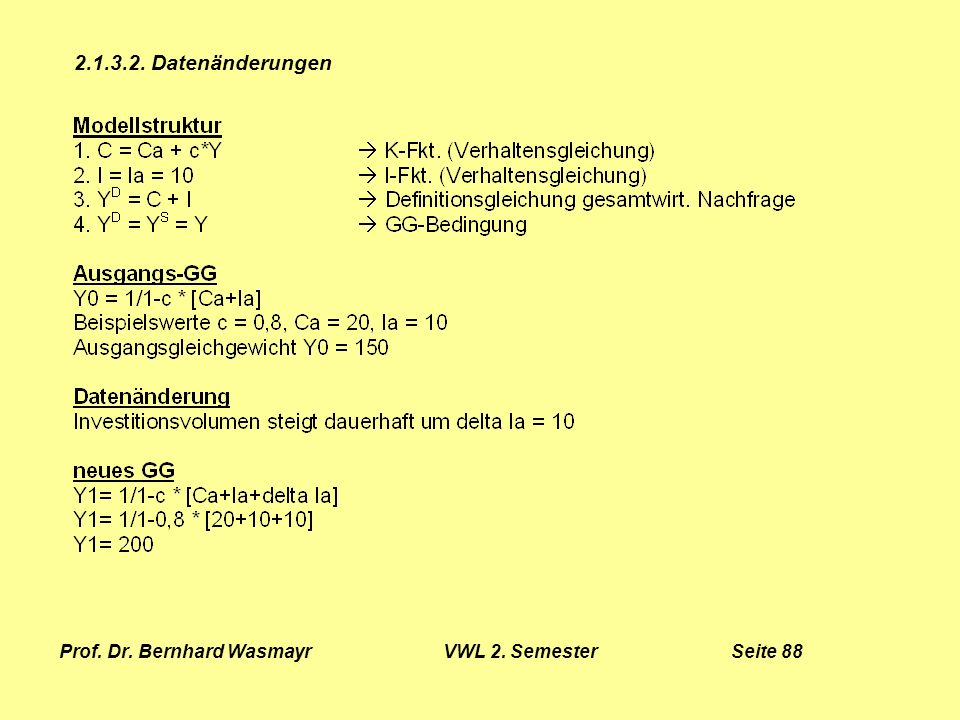 Prof. Dr. Bernhard Wasmayr VWL 2. Semester Seite 88