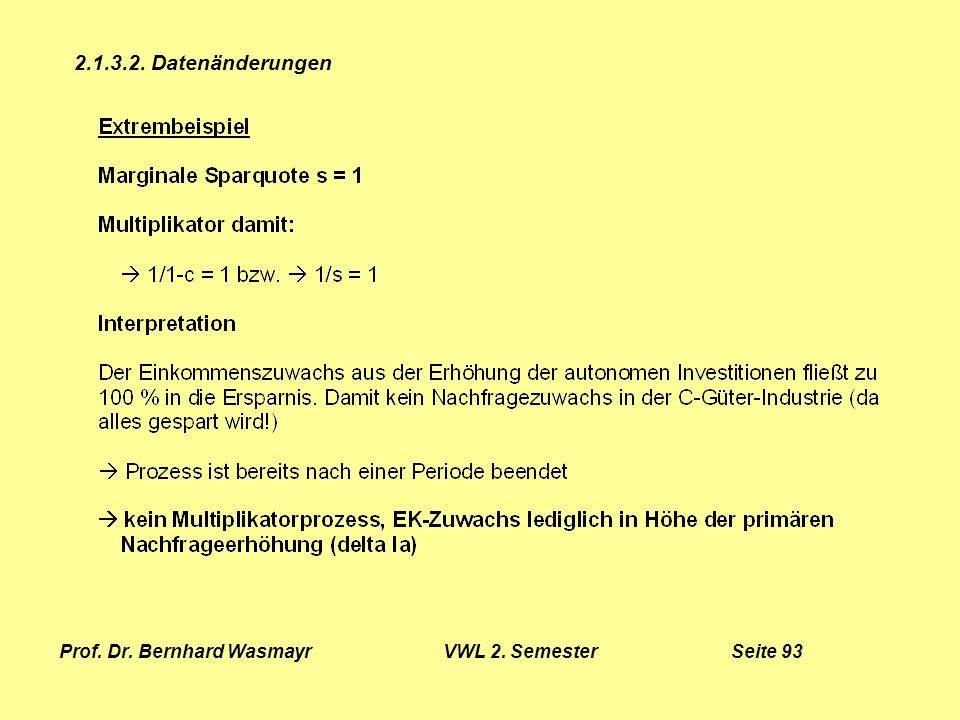 Prof. Dr. Bernhard Wasmayr VWL 2. Semester Seite 93