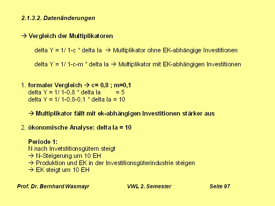 Prof. Dr. Bernhard Wasmayr VWL 2. Semester Seite 97