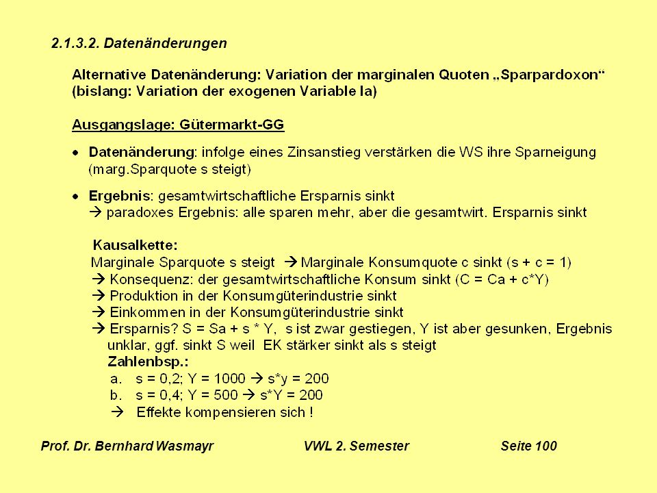 Prof. Dr. Bernhard Wasmayr VWL 2. Semester Seite 100
