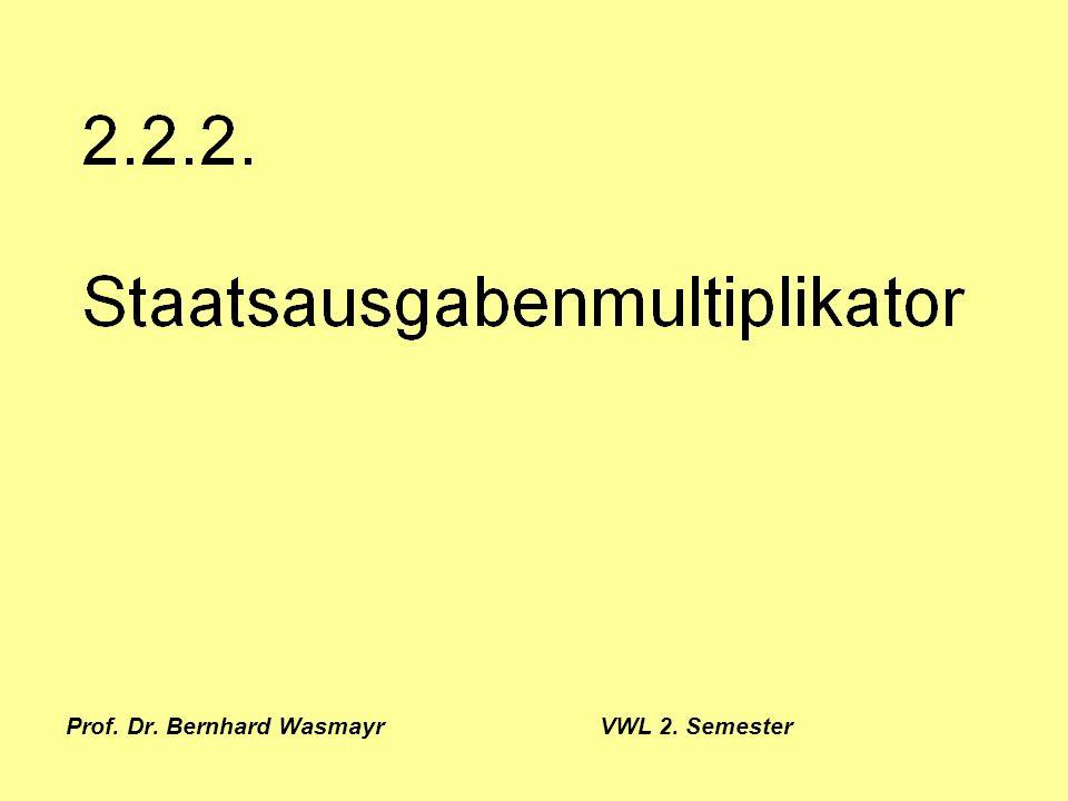 Prof. Dr. Bernhard Wasmayr VWL 2. Semester