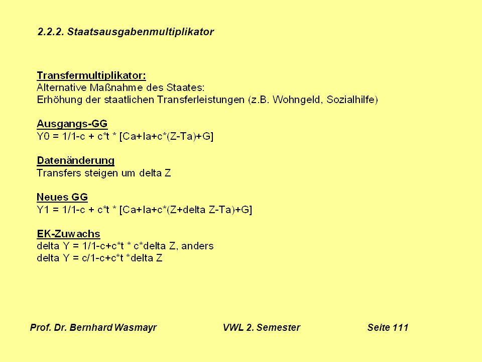 Prof. Dr. Bernhard Wasmayr VWL 2. Semester Seite 111