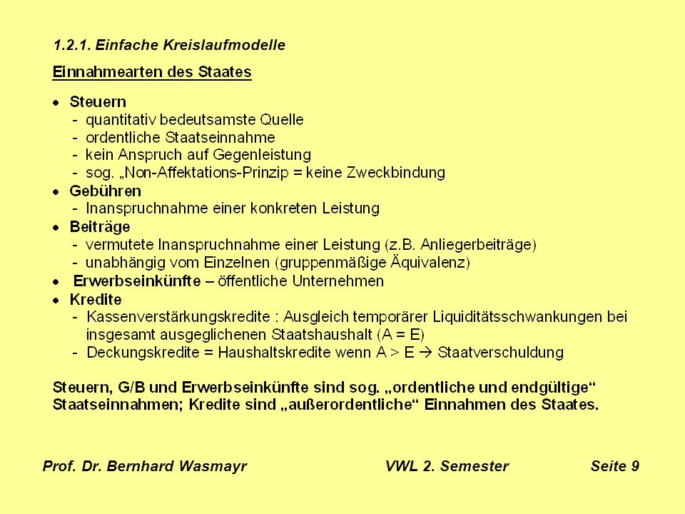 Prof. Dr. Bernhard Wasmayr VWL 2. Semester Seite 9