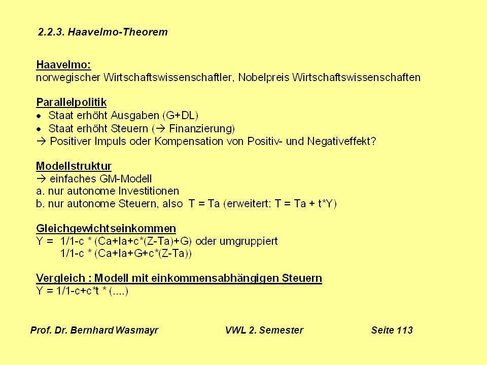 Prof. Dr. Bernhard Wasmayr VWL 2. Semester Seite 113