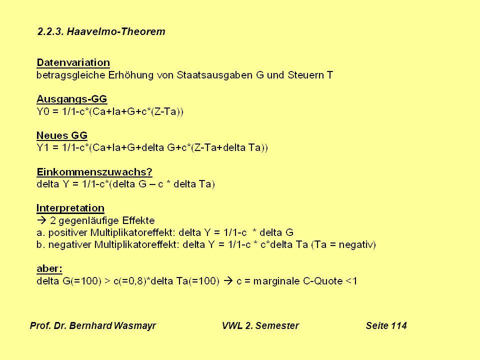 Prof. Dr. Bernhard Wasmayr VWL 2. Semester Seite 114