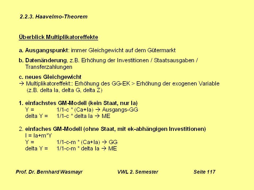 Prof. Dr. Bernhard Wasmayr VWL 2. Semester Seite 117