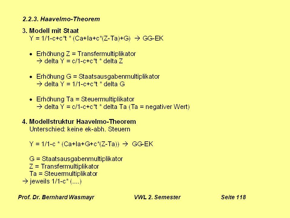 Prof. Dr. Bernhard Wasmayr VWL 2. Semester Seite 118