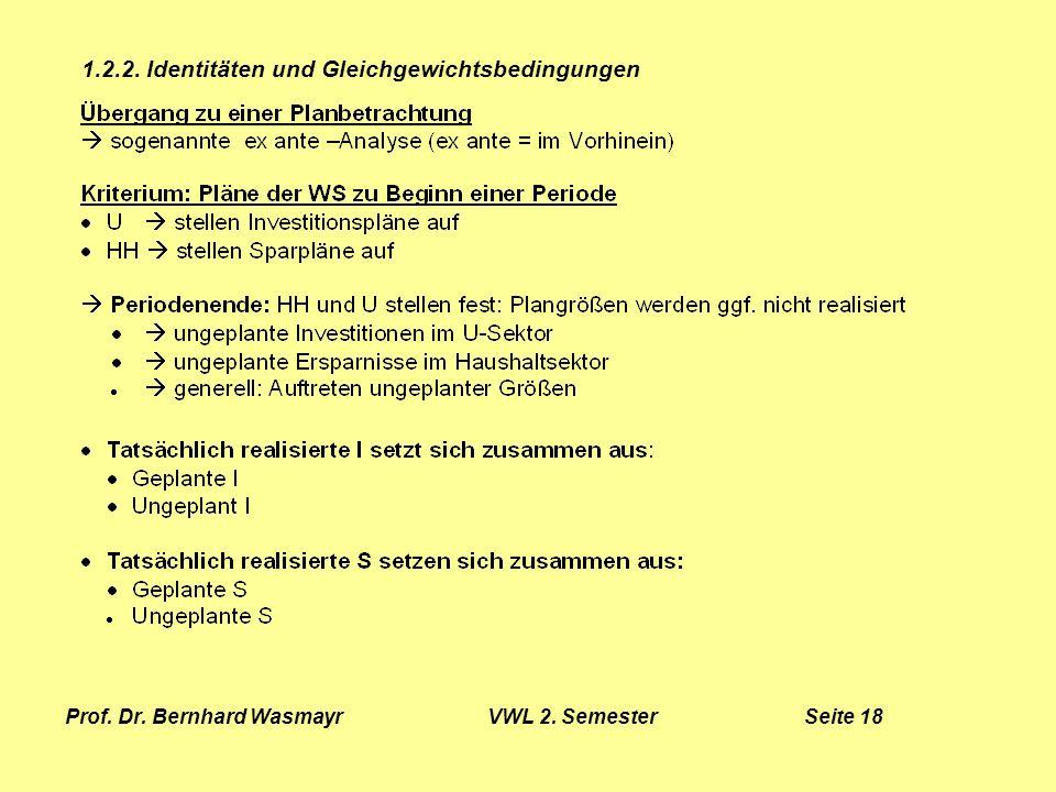 Prof. Dr. Bernhard Wasmayr VWL 2. Semester Seite 18