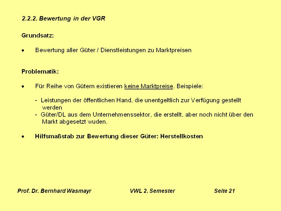 Prof. Dr. Bernhard Wasmayr VWL 2. Semester Seite 21
