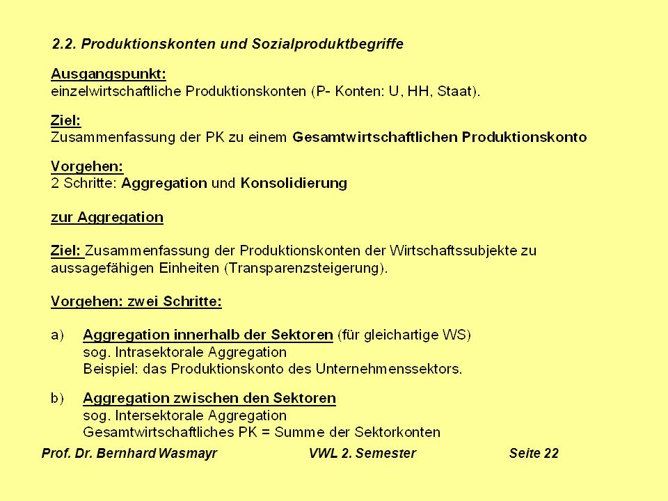 Prof. Dr. Bernhard Wasmayr VWL 2. Semester Seite 22