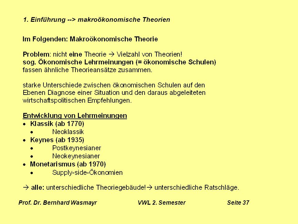 Prof. Dr. Bernhard Wasmayr VWL 2. Semester Seite 37
