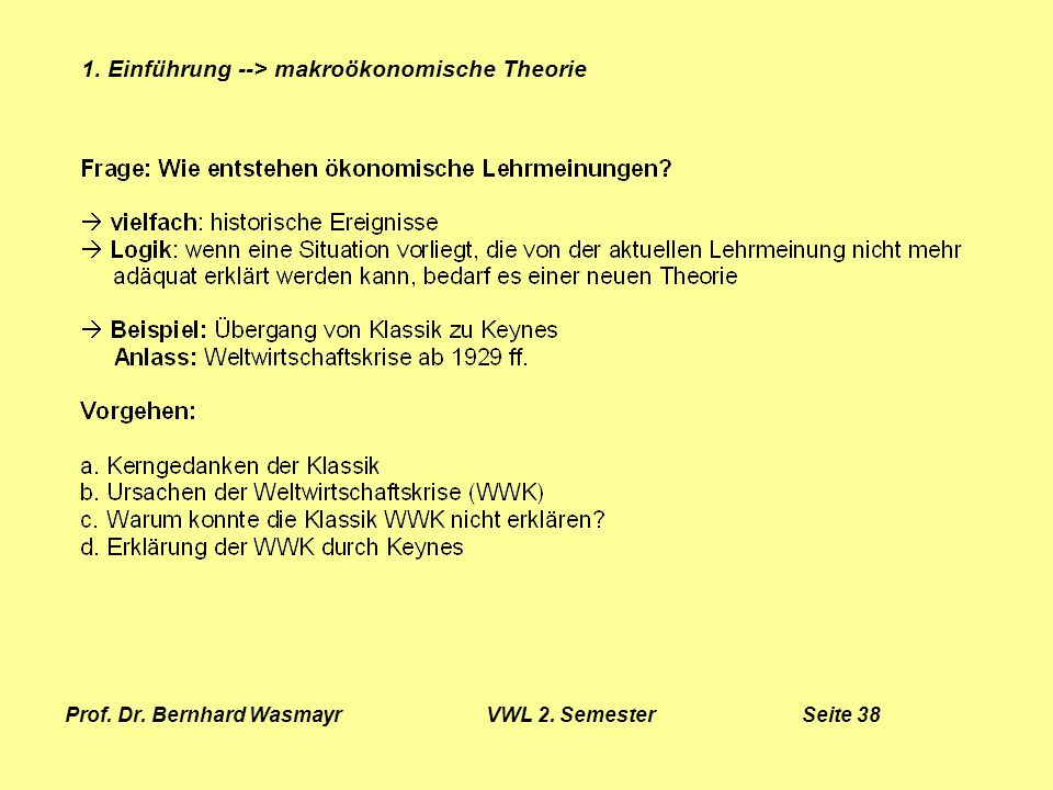 Prof. Dr. Bernhard Wasmayr VWL 2. Semester Seite 38