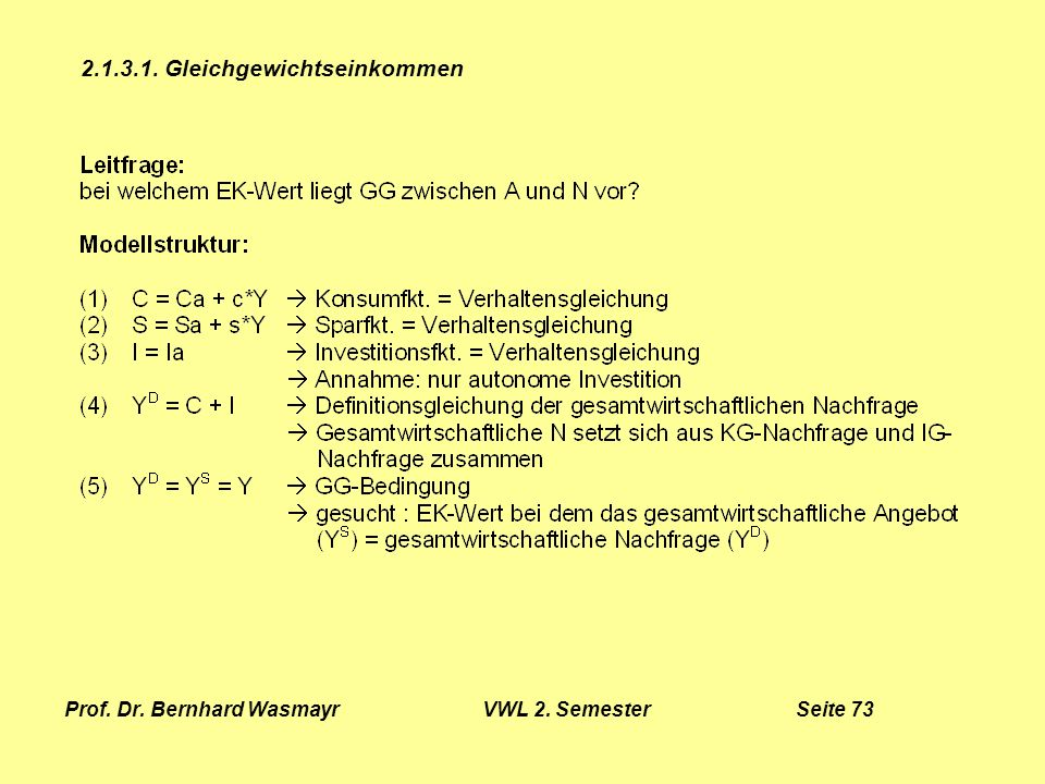 Prof. Dr. Bernhard Wasmayr VWL 2. Semester Seite 73