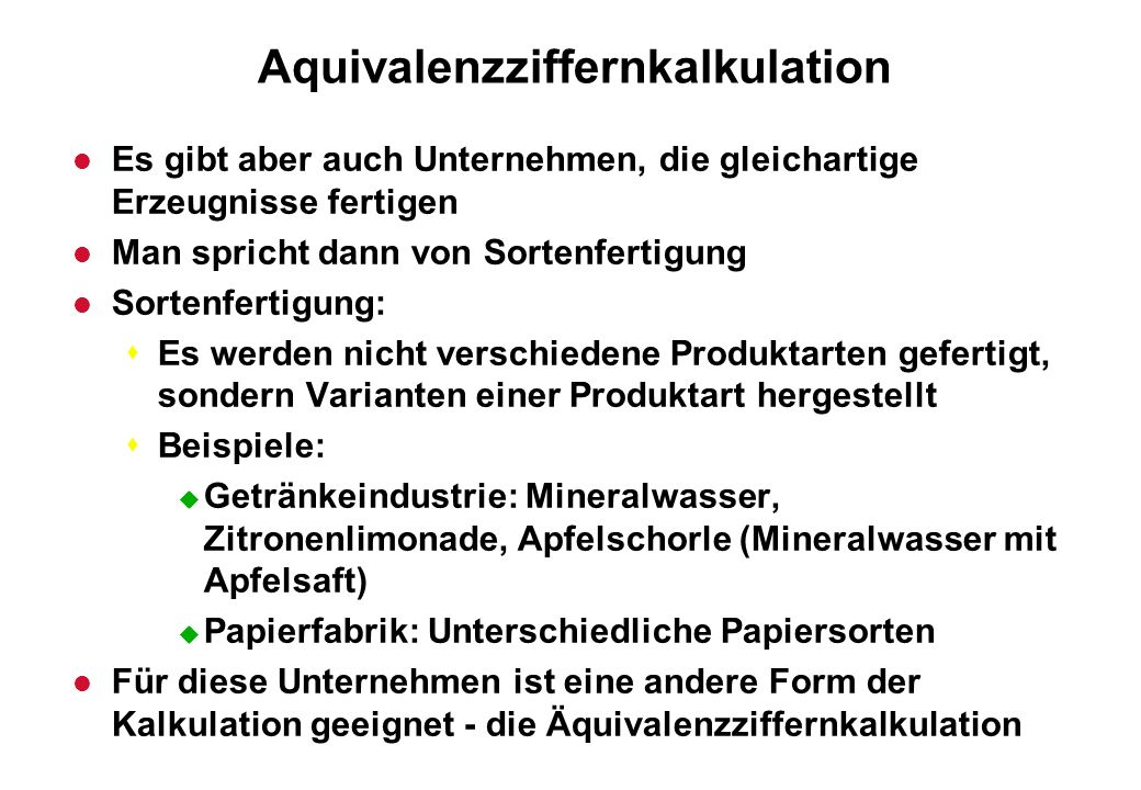 Aquivalenzziffernkalkulation