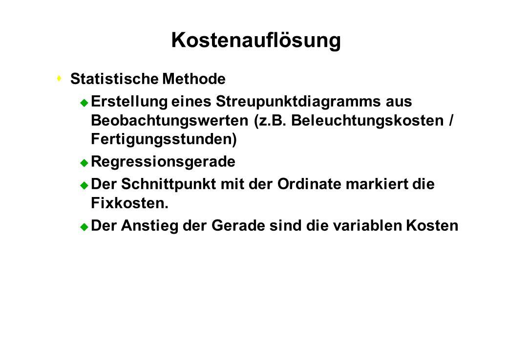 Kostenauflösung Statistische Methode
