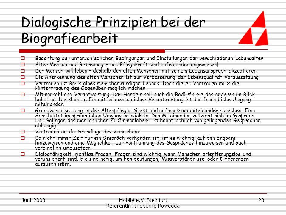 Dialogische Prinzipien bei der Biografiearbeit