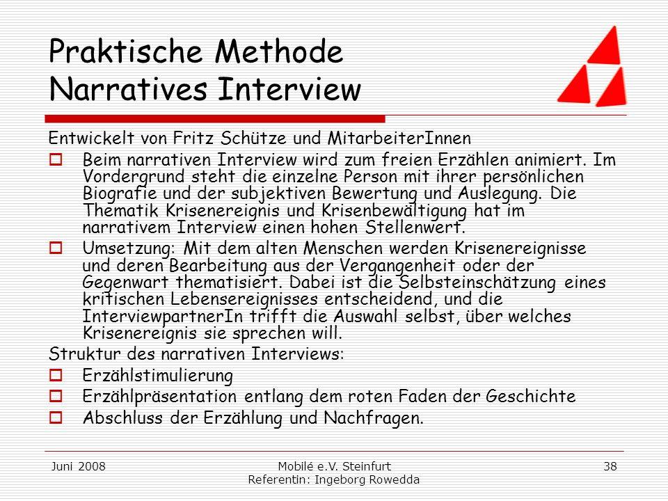 Praktische Methode Narratives Interview
