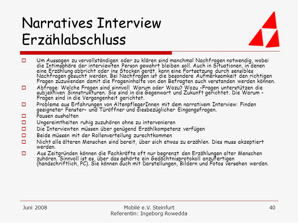 Narratives Interview Erzählabschluss
