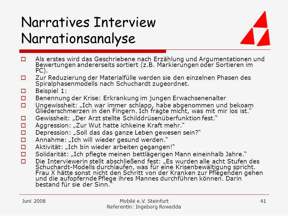 Narratives Interview Narrationsanalyse