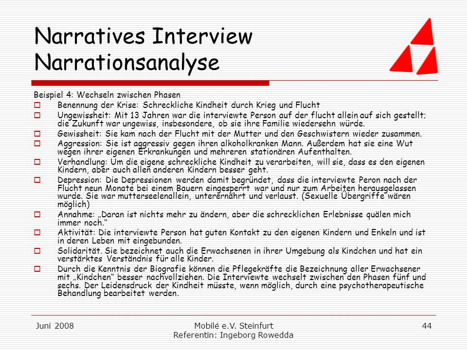 Narratives Interview Narrationsanalyse