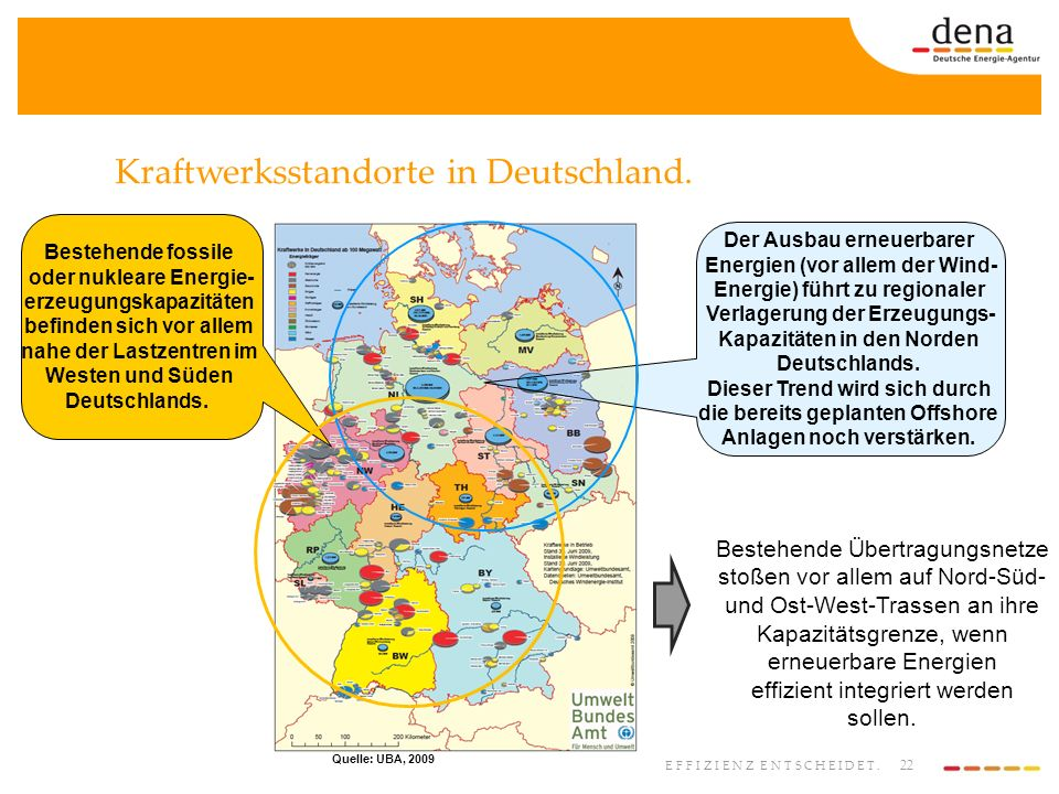 Kraftwerksstandorte in Deutschland.