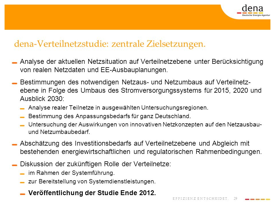 dena-Verteilnetzstudie: zentrale Zielsetzungen.