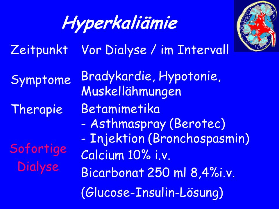 Hyperkaliämie Zeitpunkt Symptome Therapie Vor Dialyse / im Intervall
