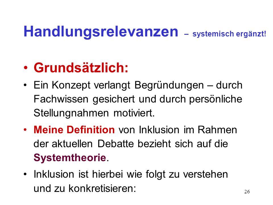 Handlungsrelevanzen – systemisch ergänzt!