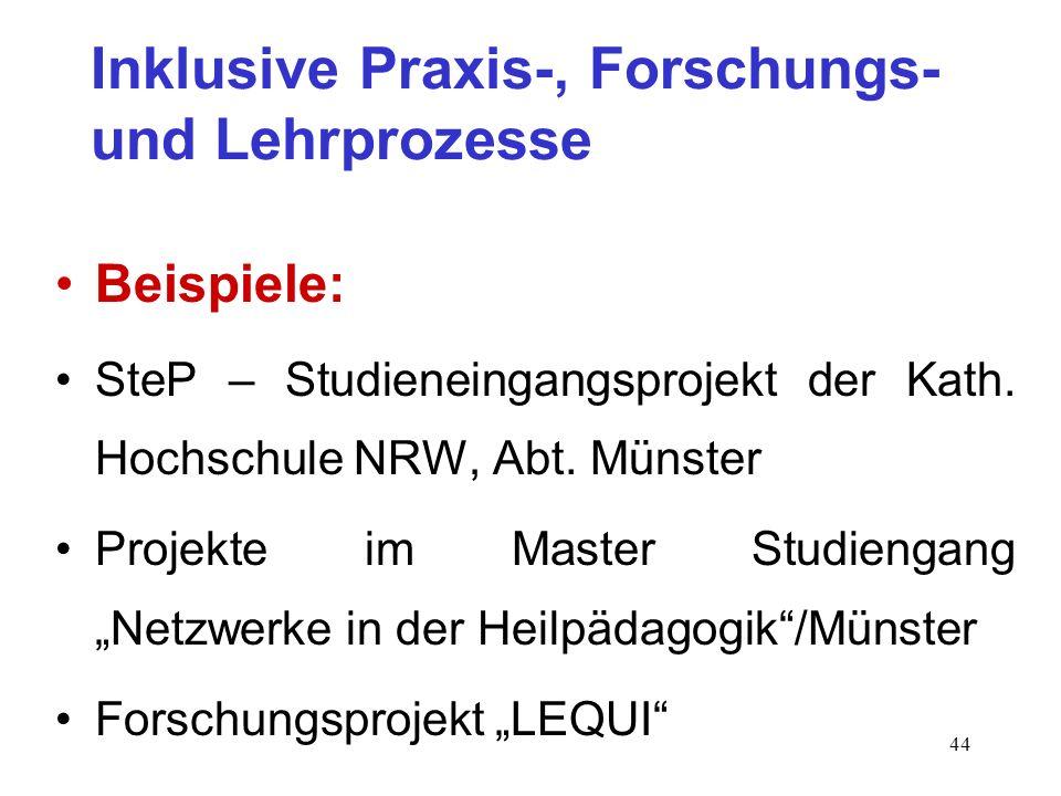 Inklusive Praxis-, Forschungs- und Lehrprozesse