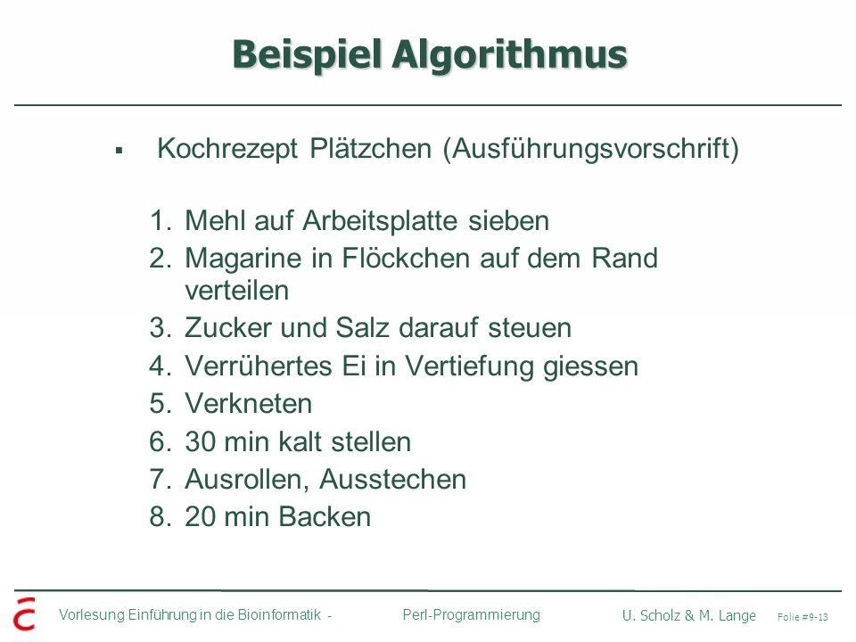 Beispiel Algorithmus Kochrezept Plätzchen (Ausführungsvorschrift)